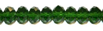 72pcs x 8mm Forest green faceted glass rondelle beads -- S.G06 -- 3005630